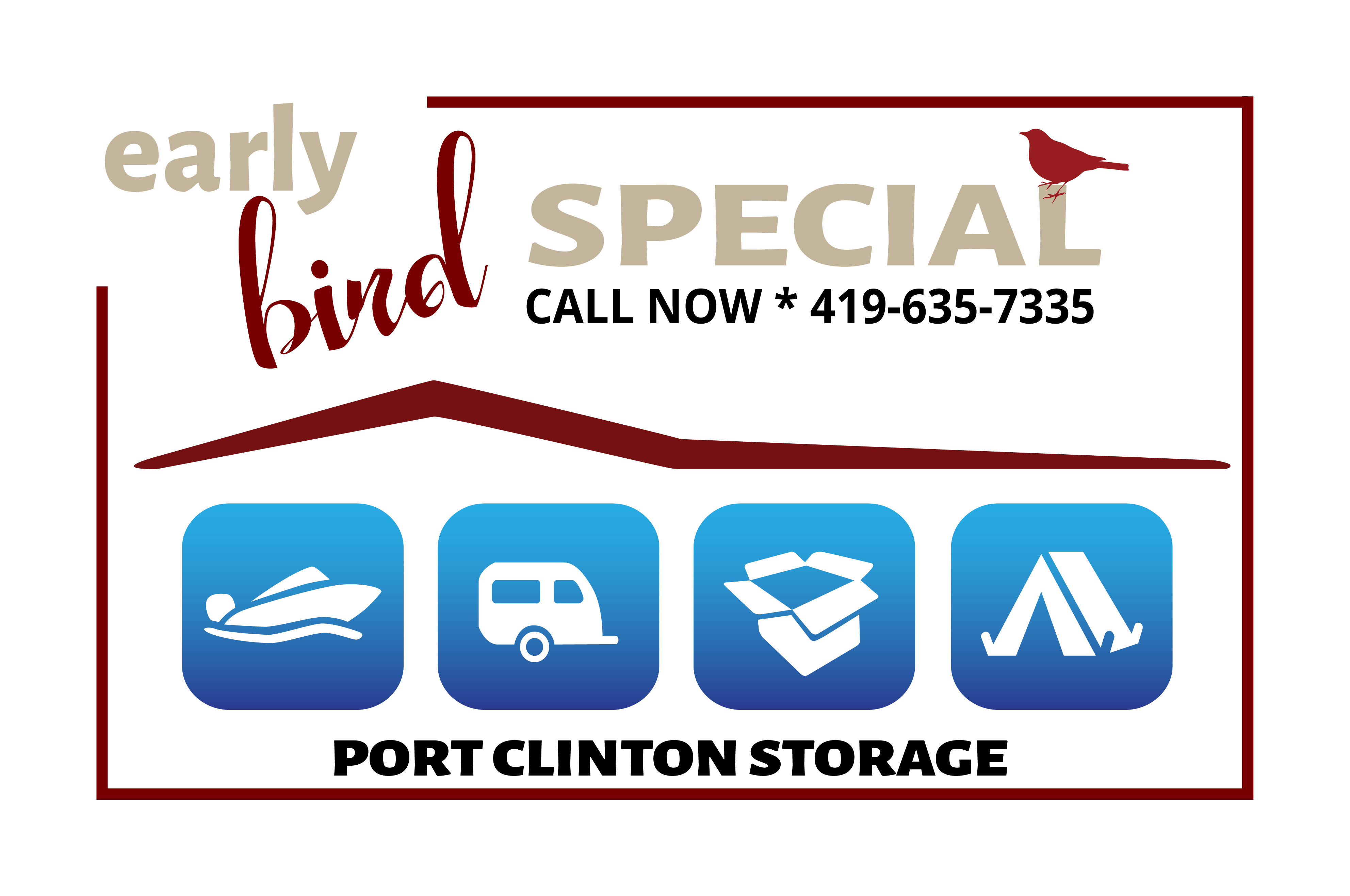 Port Clinton Storage's Early Bird Special Discount Flyer