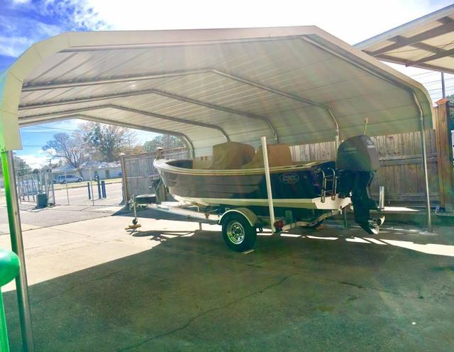 Medium covered portable with boat