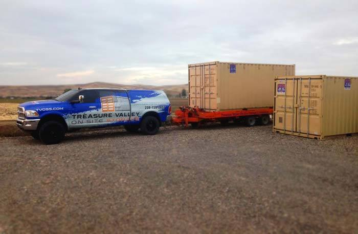 Moving storage containers at Treasure Valley On-Site Storage.