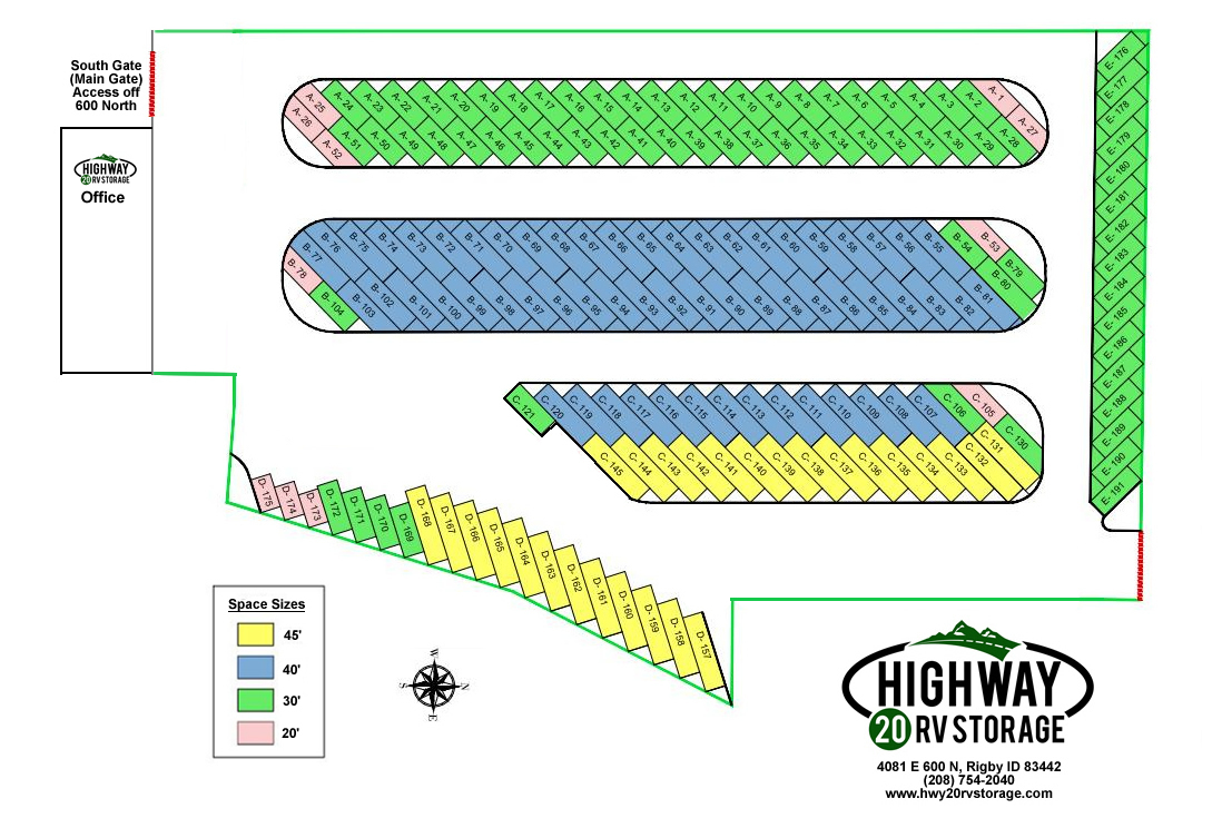 Highway 20 RV Storage Map