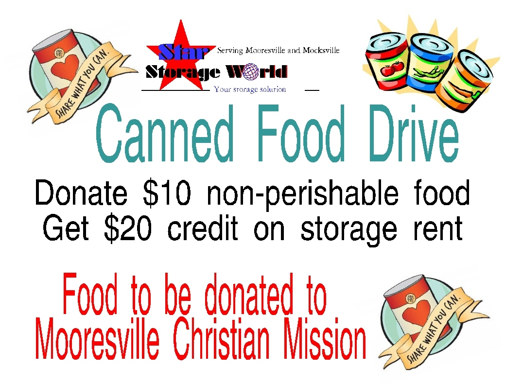 star storage World, storage units for rent, canned food drive, christian mission