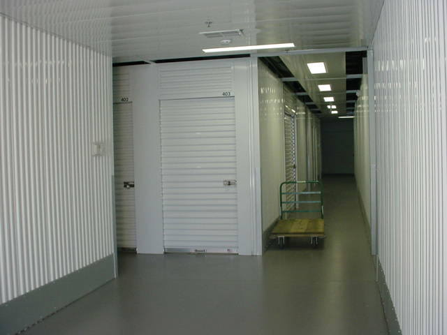 White indoor storage units at Superior Self Storage