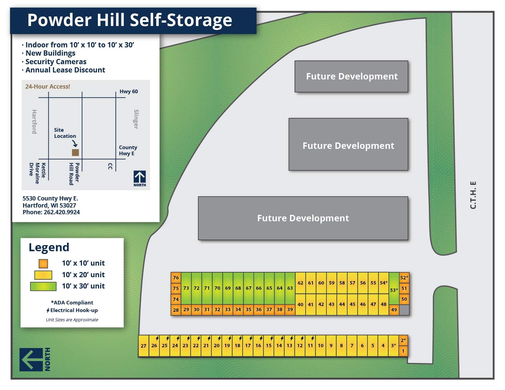 Powder Hill Self-Storage Map