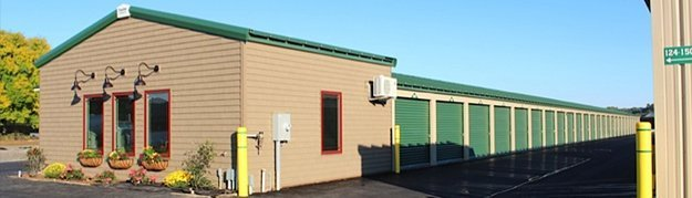 Green storage units available for rent.