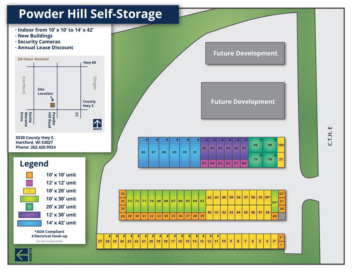 Powder Hill Self-Storage Map 2019