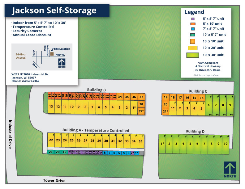 Jackson Self-Storage lot map 2019