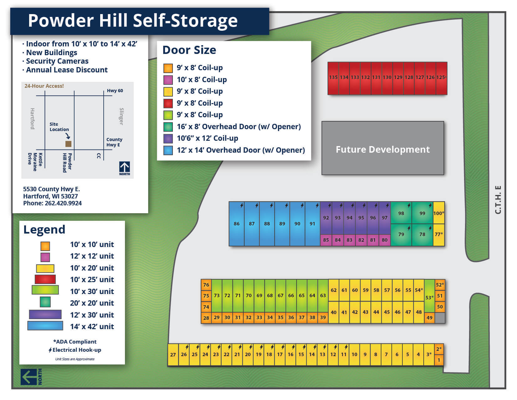 Powder Hill Self-Storage Map - April 2019
