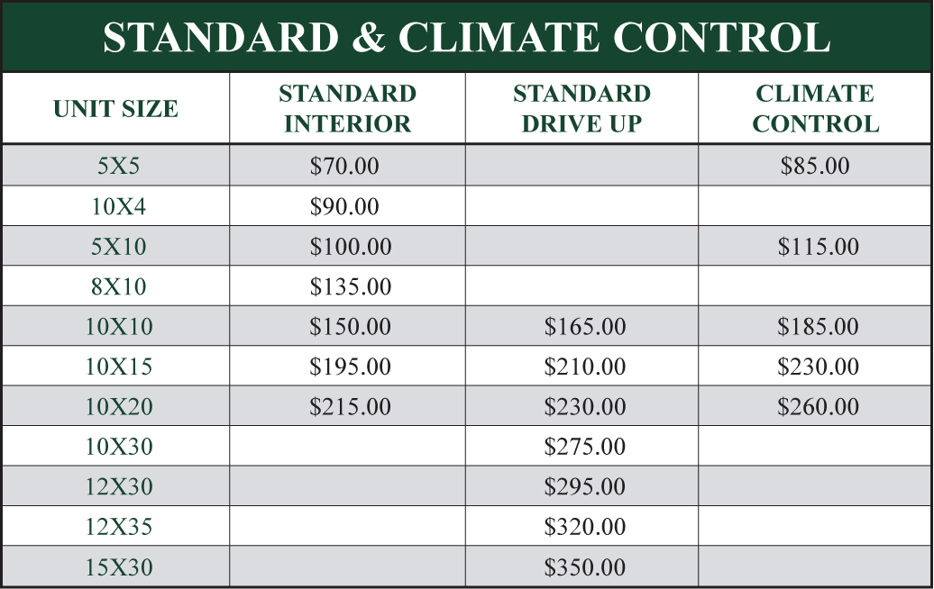 Price Guide for Superior Self Storage standard and climate controlled storage