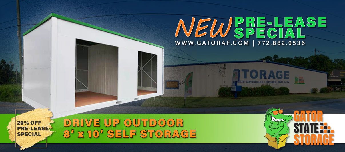 Fort Pierce outdoor drive up affordable self storage - Gator State Storage
