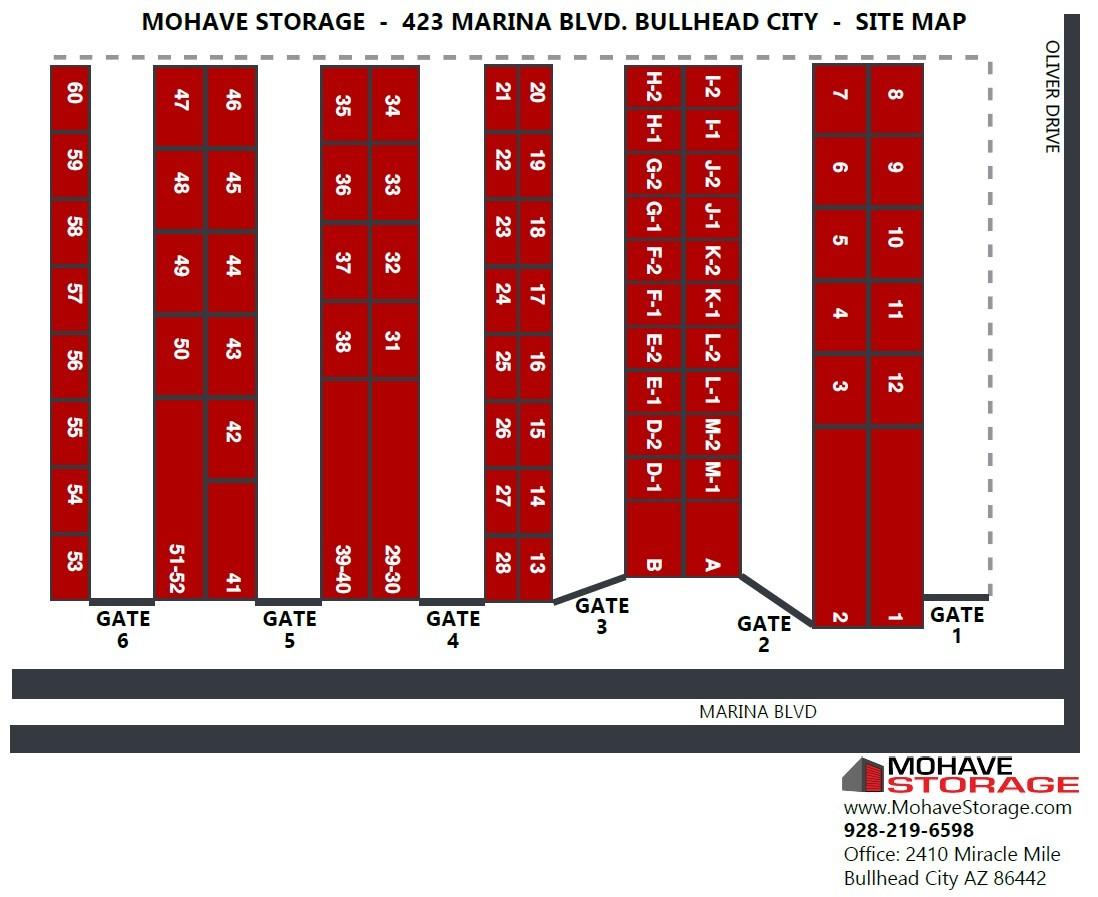 Site Map 423 Marina Blvd Bullhead Prospective Tenants Mohave Storage