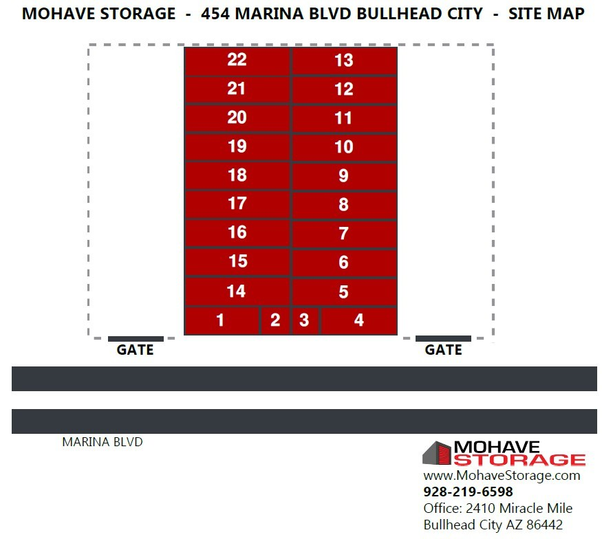 Site Map 454 Marina Blvd Bullhead Prospective Tenants Mohave Storage