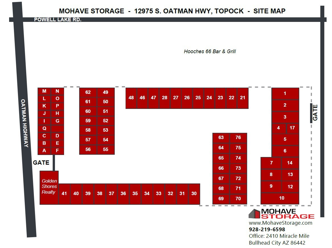 Site Map S Oatman Hwy Topock Prospective Tenants Mohave Storage