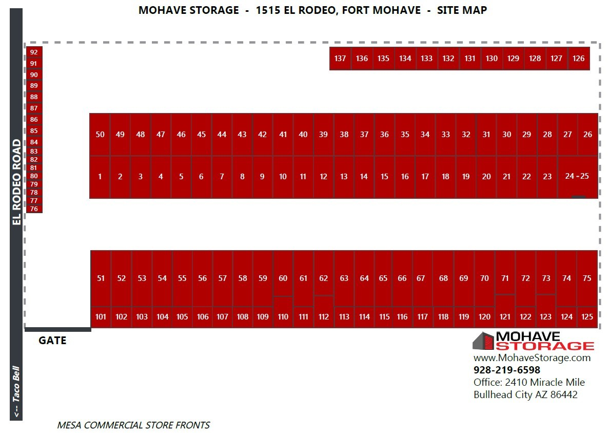 Site Map El Rodeo Rd. Fort Mohave Prospective Tenants Mohave Storage