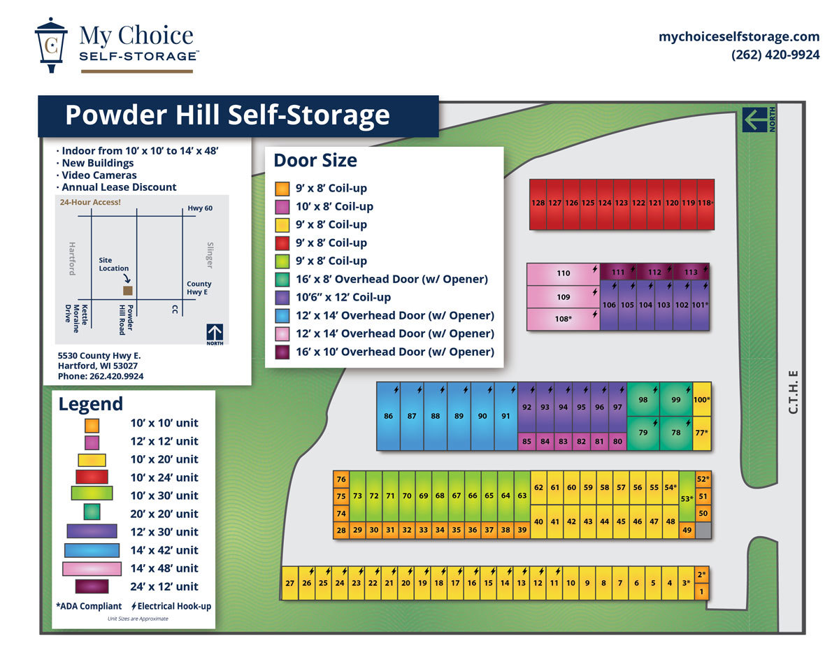 Powder Hill Storage Lot Map December 2019