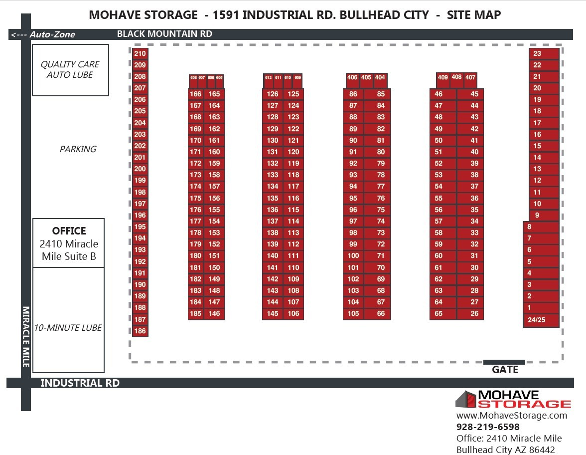 Industrial Rd Bullhead Site Map Prospective Tenants Mohave Storage