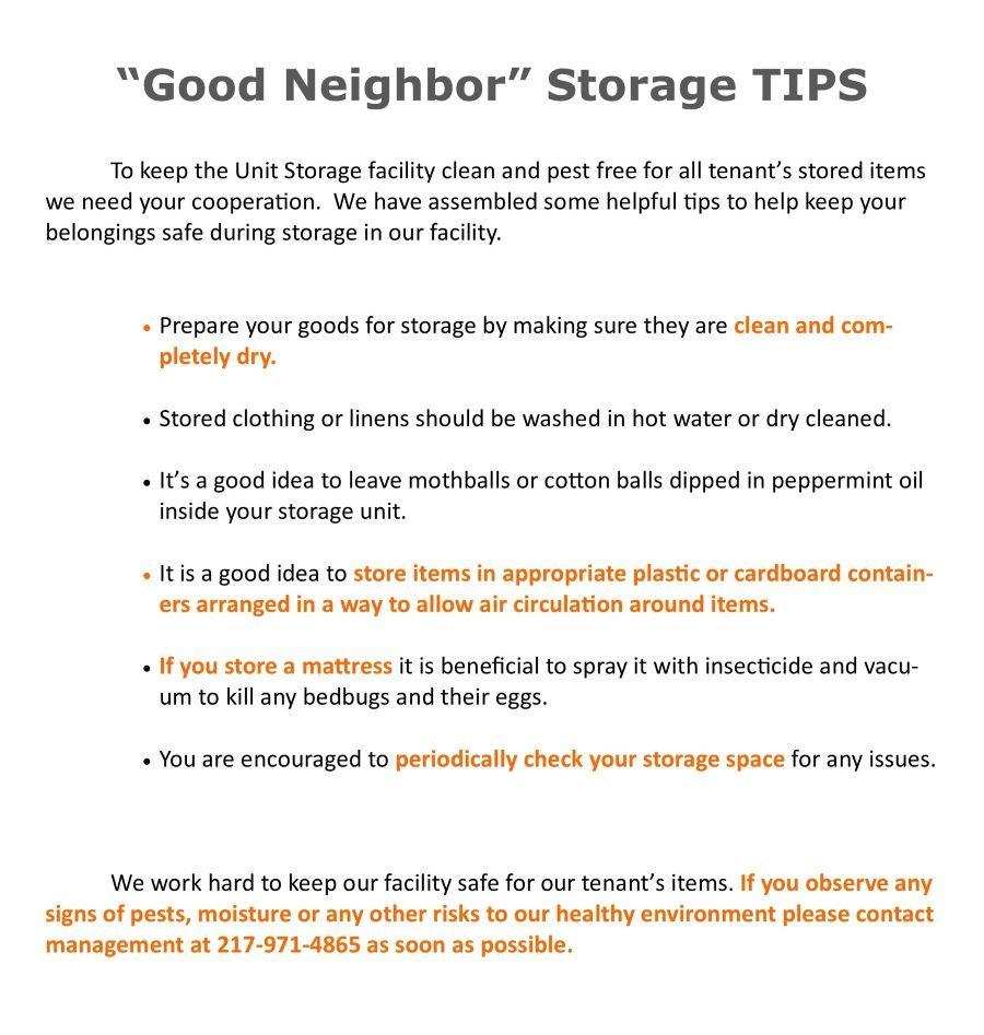 Storage Tips for Self Storage Rental space
