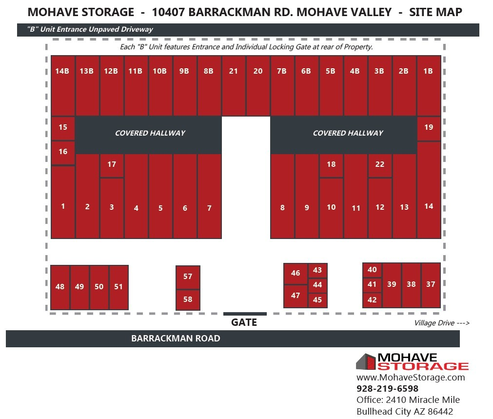Barrackman Rd Mohave Valley Site Map Prospective Tenants Mohave Storage
