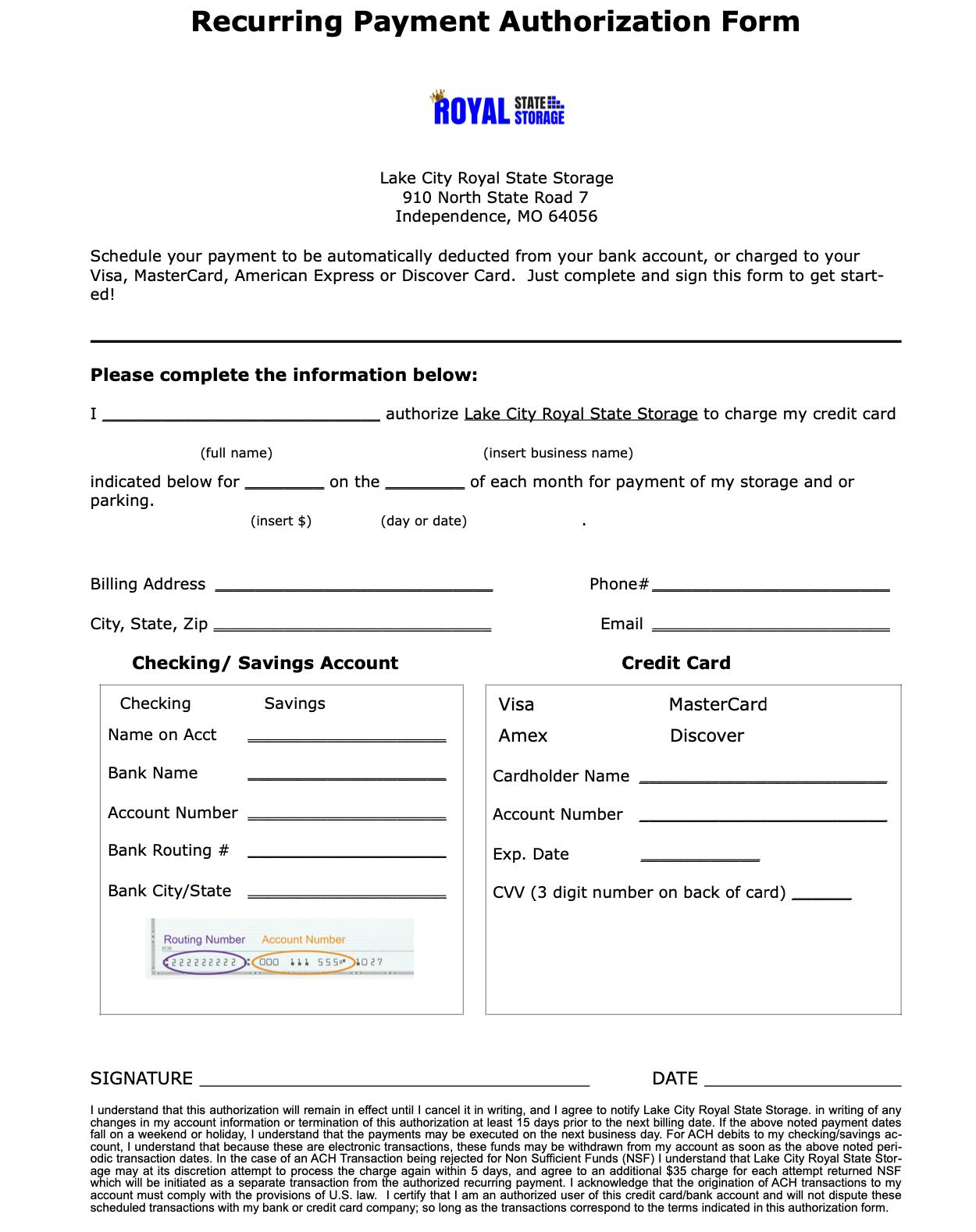 Royal State Storage ACH Form