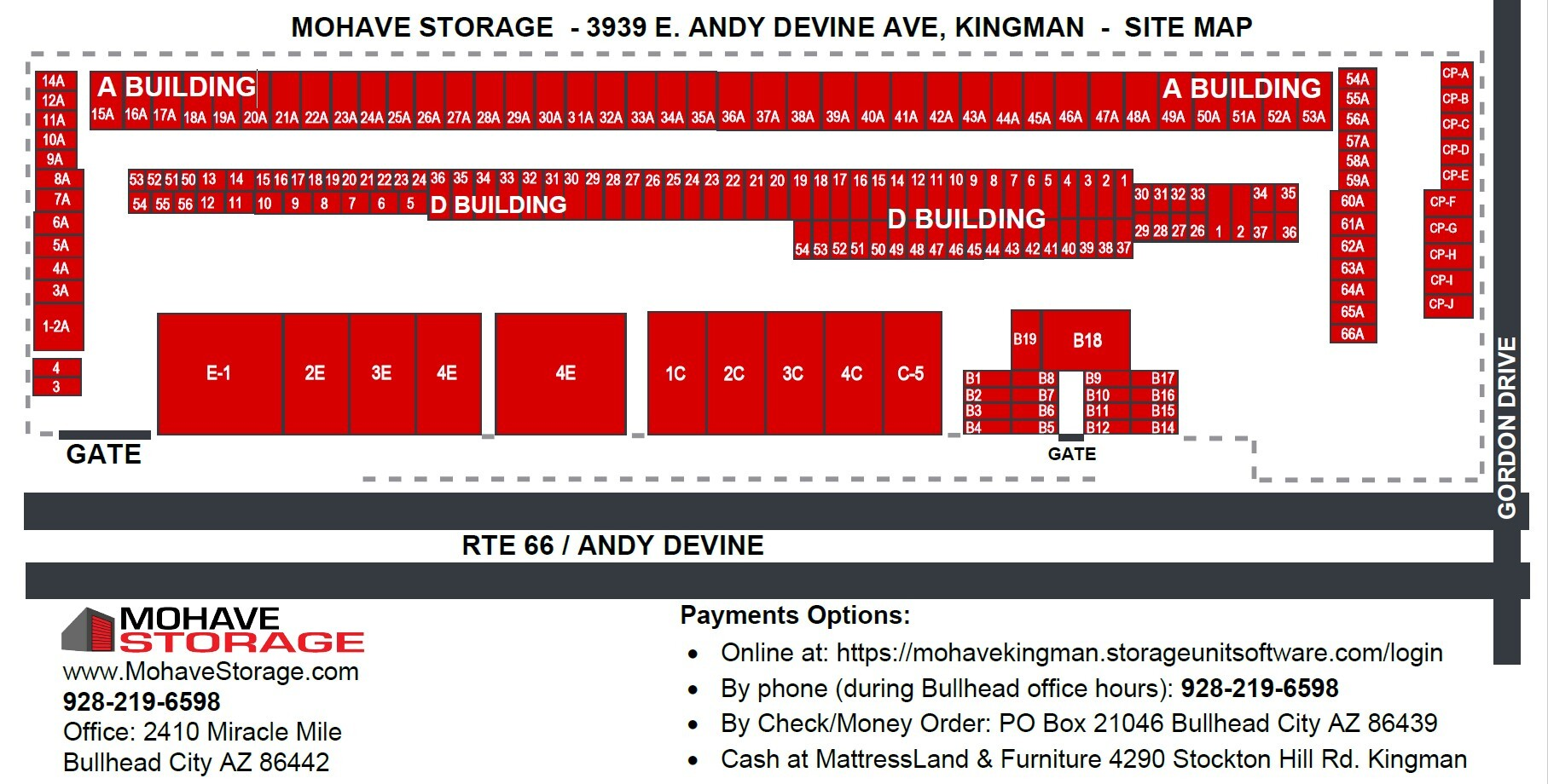 Site Map Andy Devine Kingman Prospective Tenants Mohave Storage