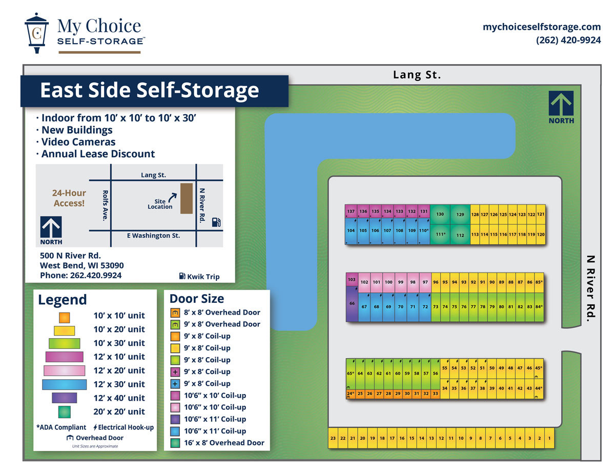 East Side Storage Lot Map January 2020
