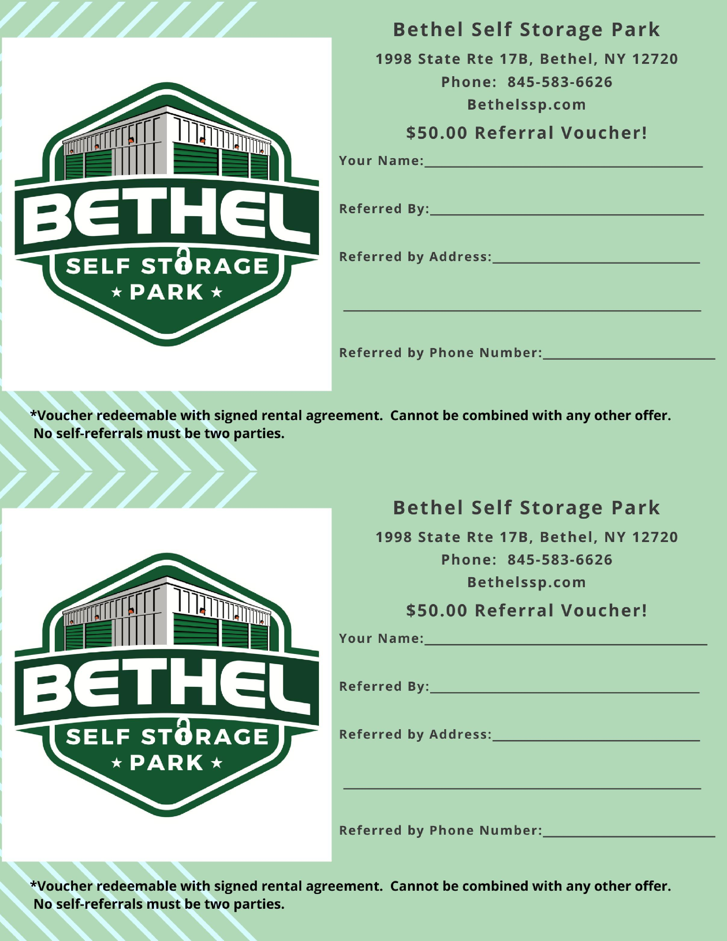 Referral Voucher for Bethel Self Storage Park