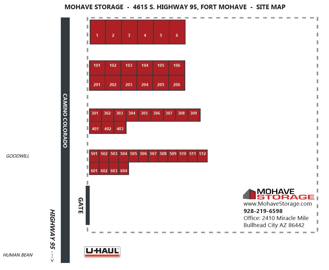 4615 S Hwy 95 Fort Mohave Site Map Prospective Tenants Mohave Storage