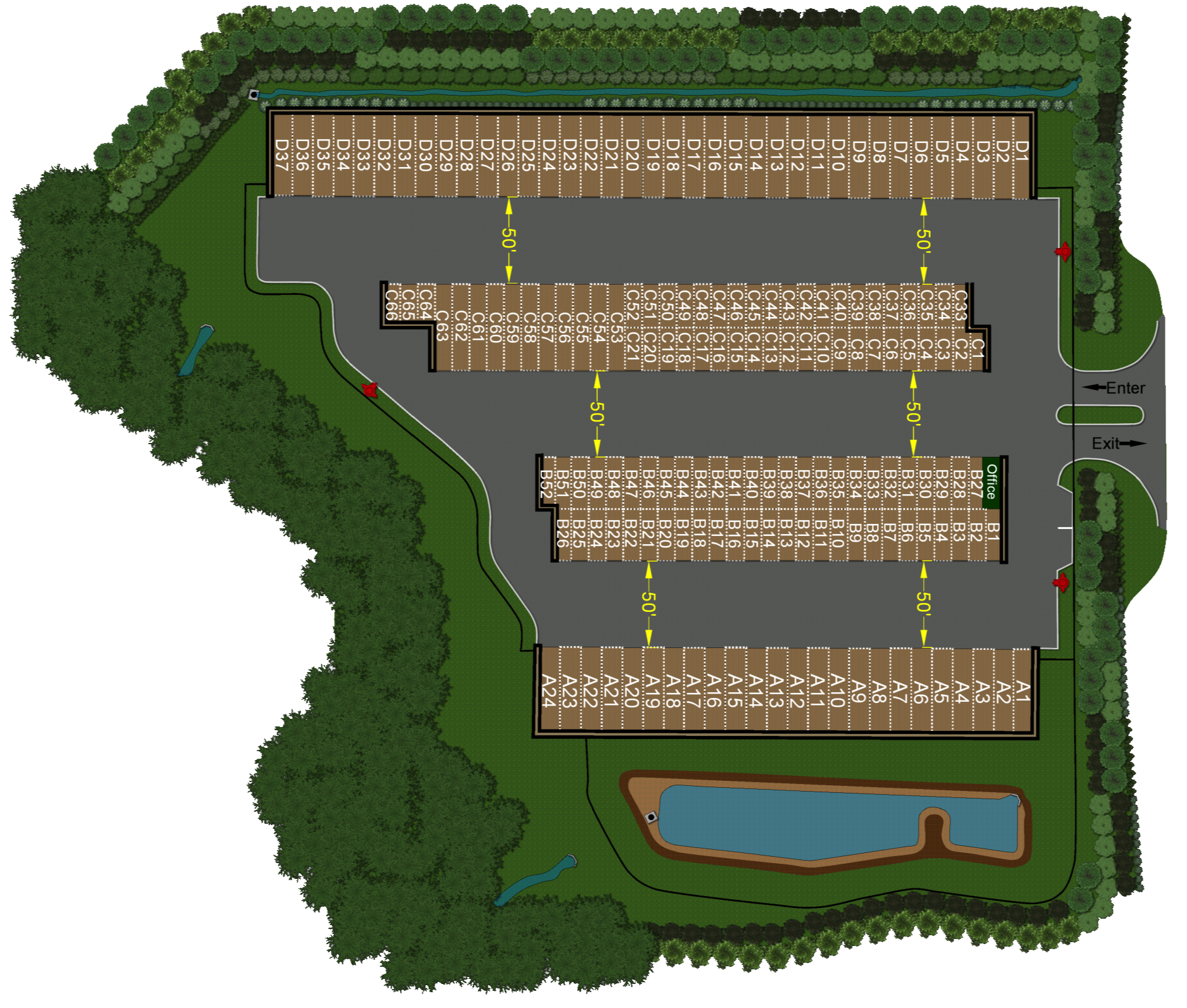 Overlook of facility site layout