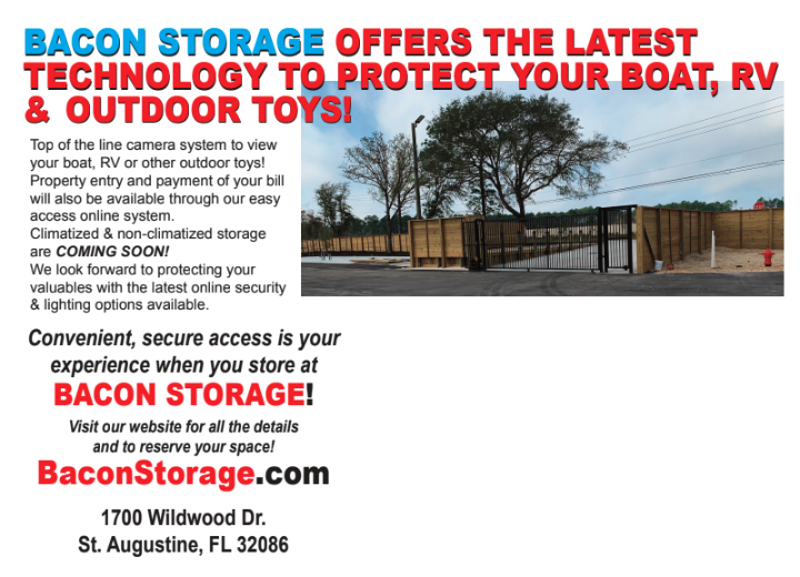 Latest and greatest surveillance technology to protect your boat & RV Storage at Bacon Storage in St. Augustine, FL.