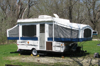 Pop Up Trailer in the woods