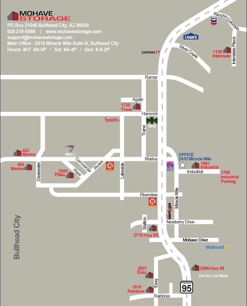 Bullhead City Map of All Facility Addresses, Landmarks