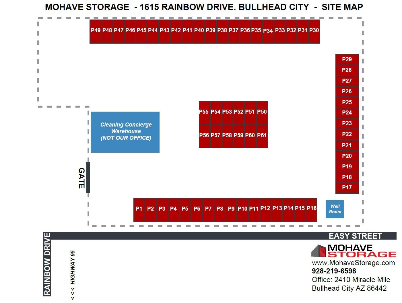 Site Map Rainbow Dr Bullhead Prospective Tenants Mohave Storage