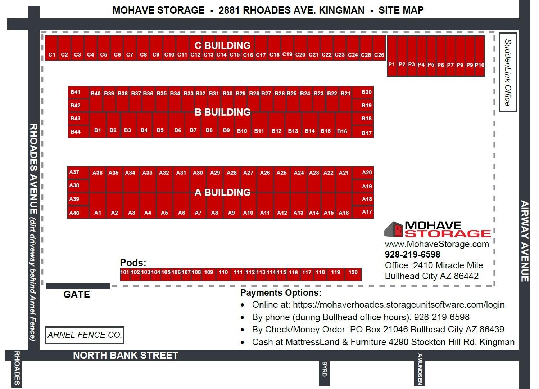 Site Map 2881 Rhoades Kingman Prospective Tenants Mohave Storage