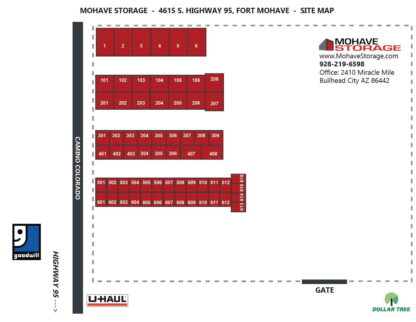 Site Map 4615 S Hwy 95 Camino Colorado Fort Mohave Site Map Prospective Tenants Mohave Storage Uhaul
