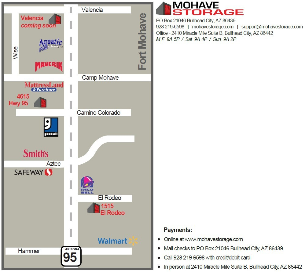 ALL Locations FORT MOHAVE Map