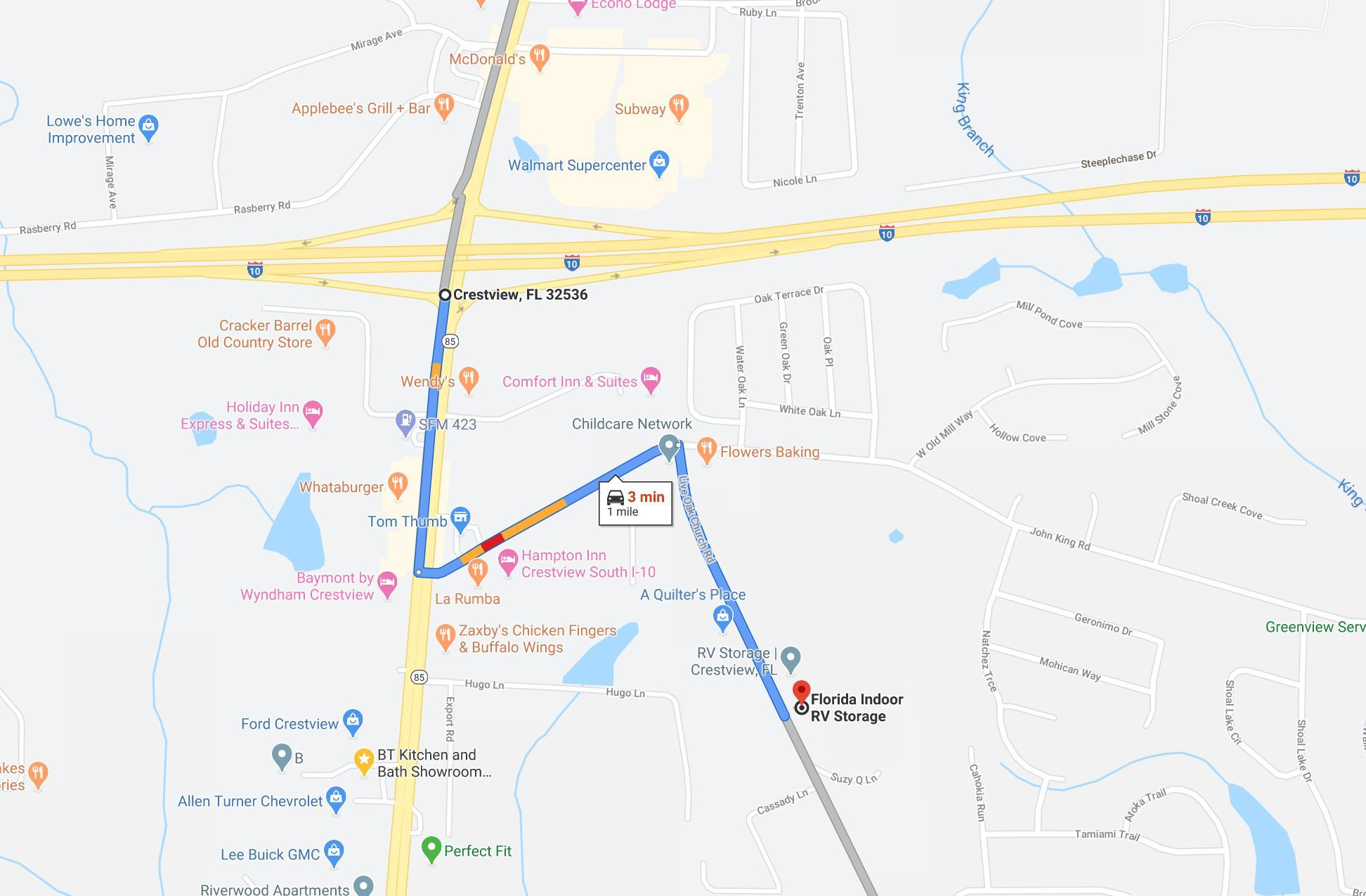 Florida Indoor RV Storage is located one mile south of I10