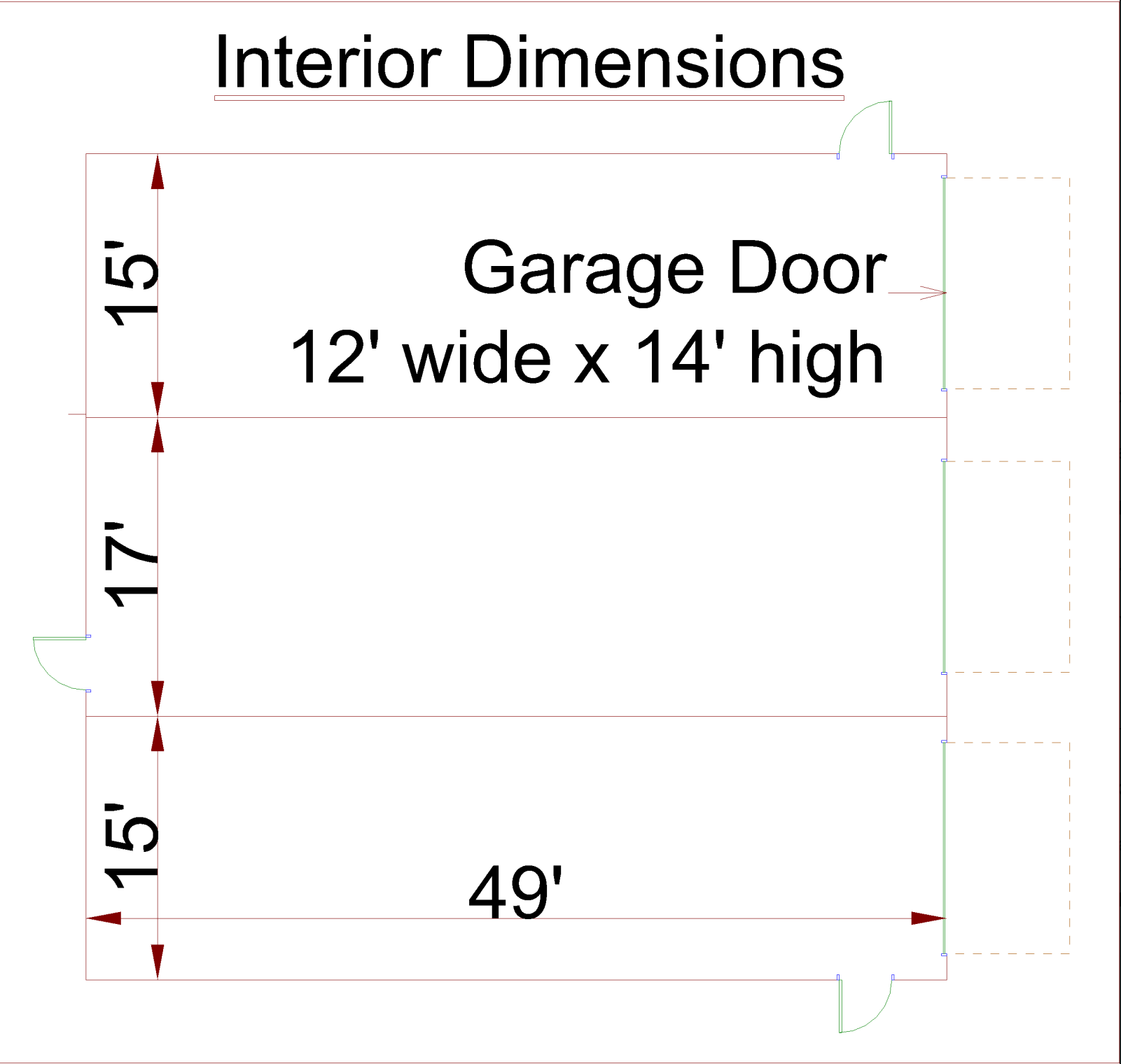 Large Garage Storage Interior Dimensions