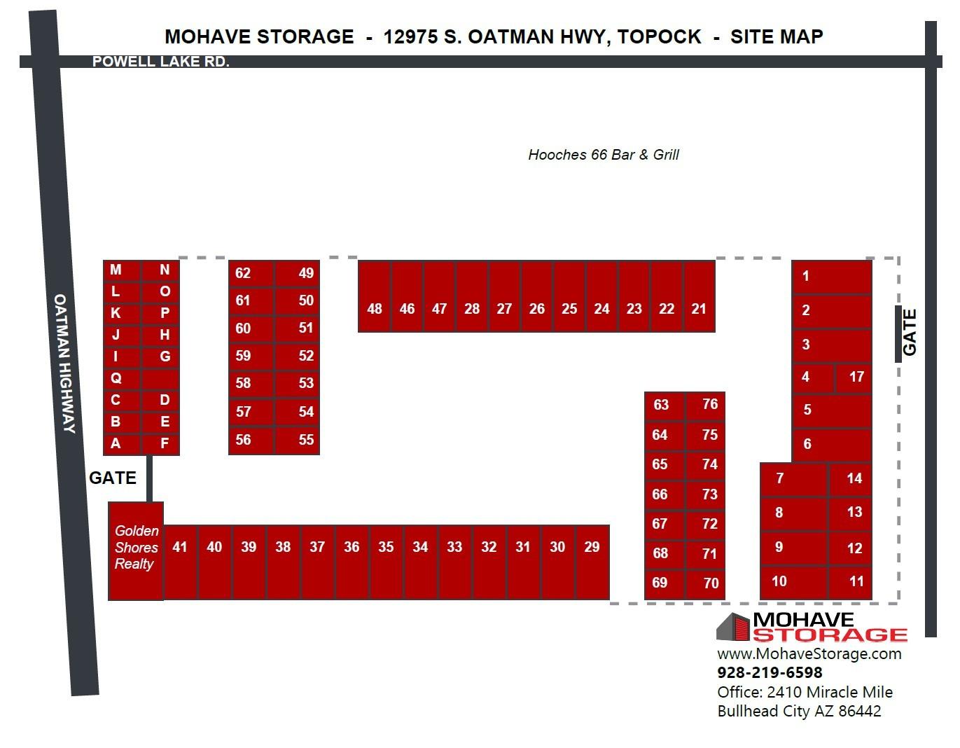 Site map S Oatman Hwy Golden Shores Topock Site Map Prospective Tenants Mohave Storage