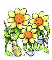 Three daisy flowers sweeping and painting