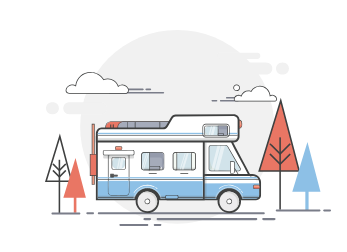 Cartoon of a blue and white RV among trees