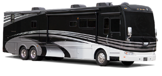Class A motorhome with black and silver paint