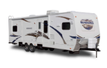 Travel trailer RV with white paint