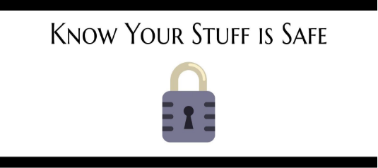 Know your stuff is safe text above a self storage lock