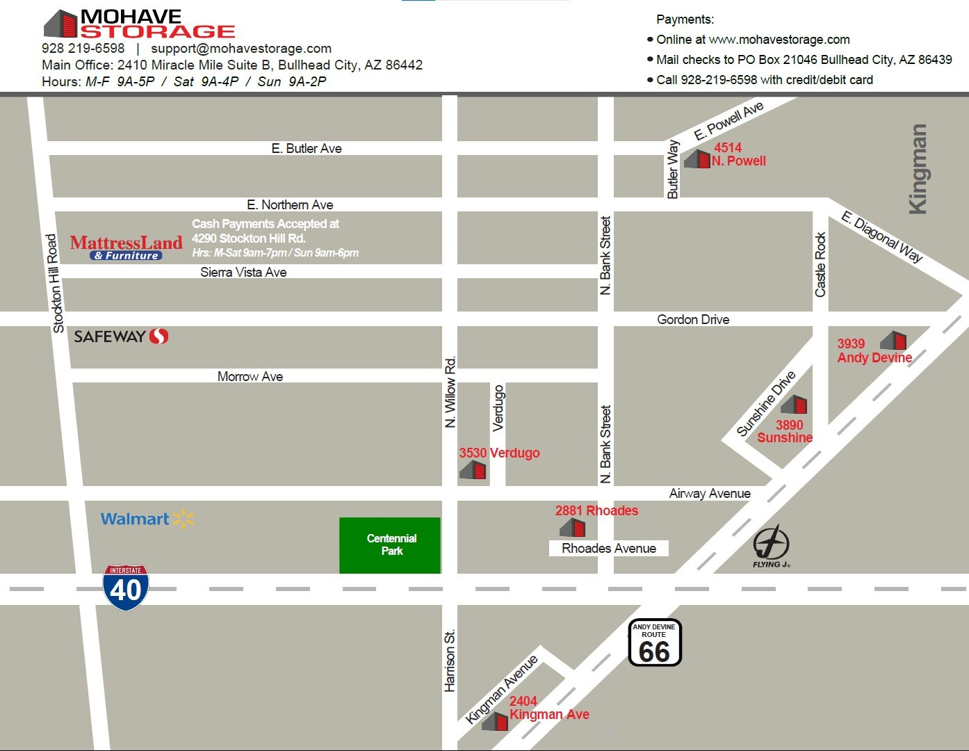 Kingman All Locations Map Mohave Storage