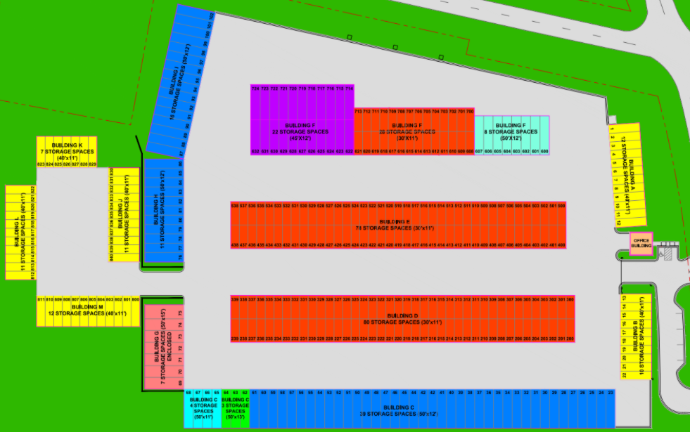 Numbered Storage Site Map