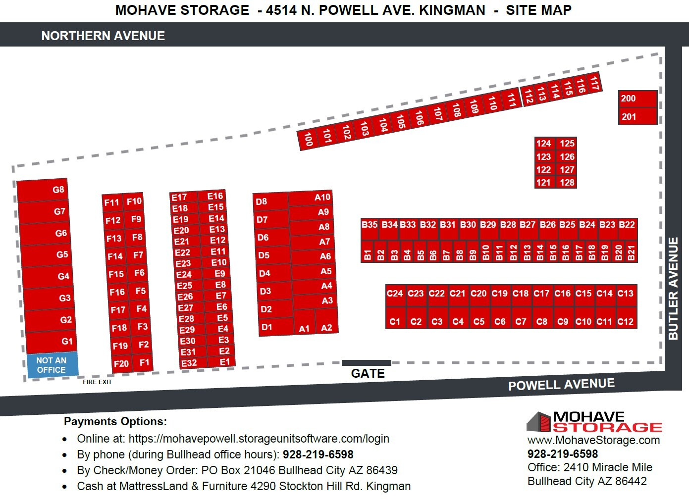 Site Map 4514 N. Powell Ave Kingman Site Map Prospective Tenants Mohave Storage Payment Options