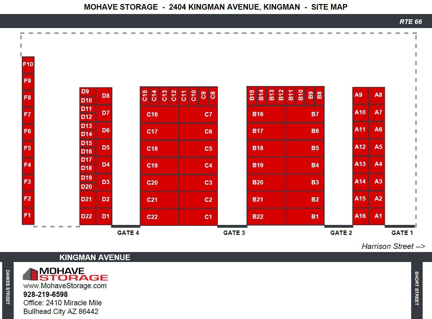 Site Map 2404 Kingman Avenue Kingman Site Map Prospective Tenants Mohave Storage