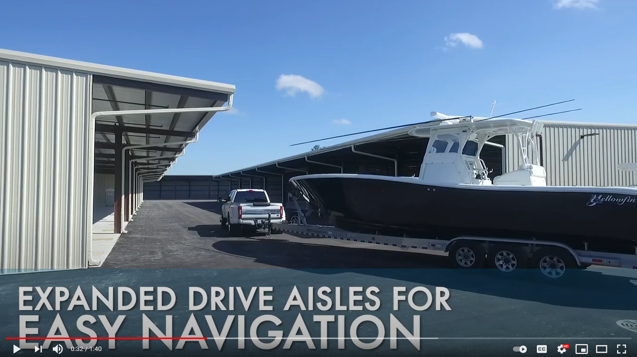 Expanded drive aisles for easy navigation