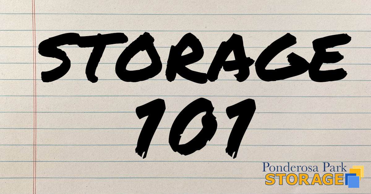 Storage 101 written in marker on paper