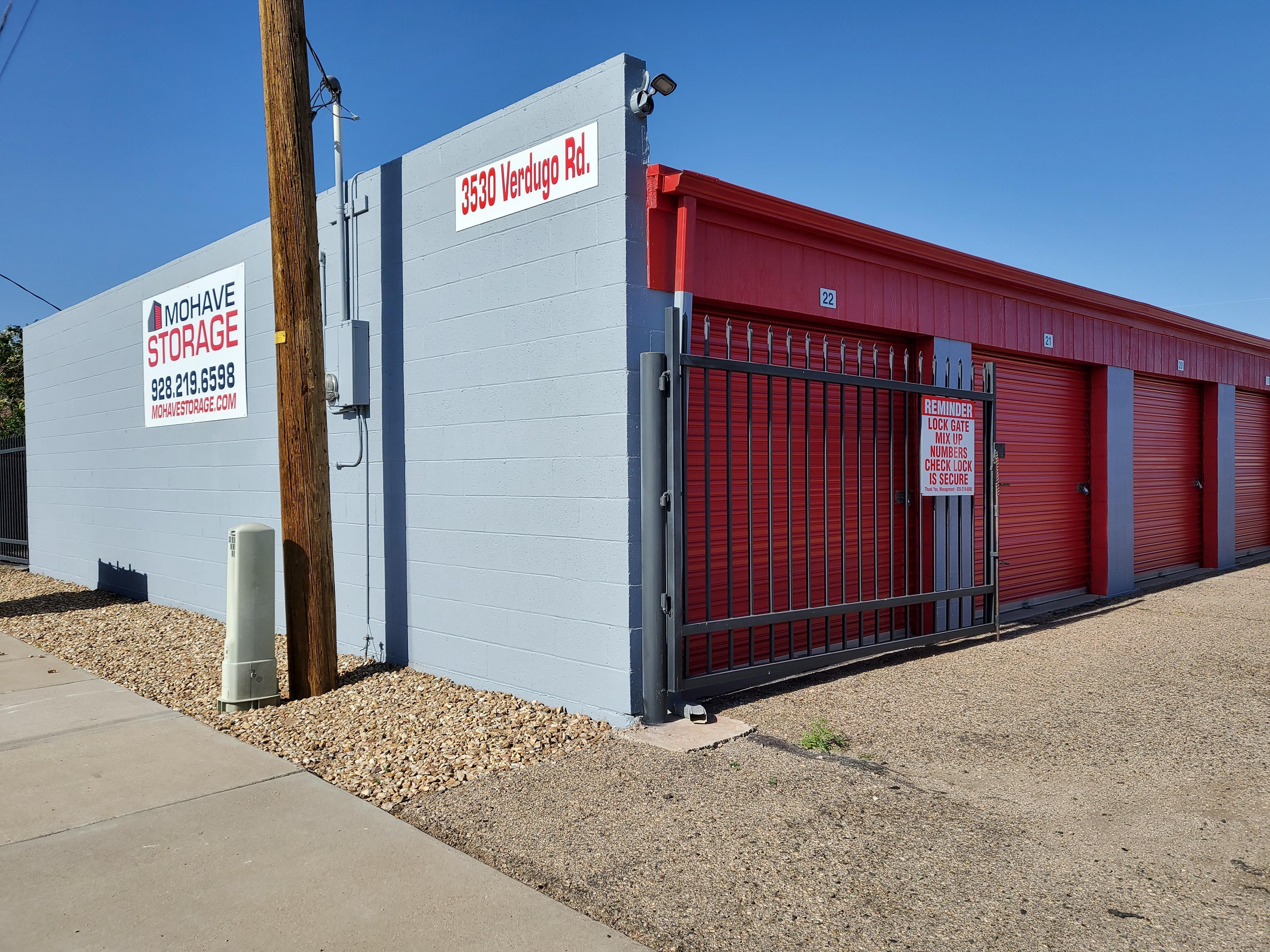VERDUGO Rd. Kingman Gate Entrance Mohave Storage