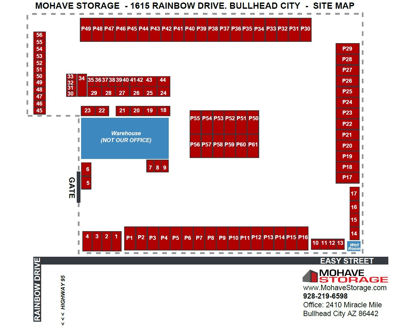Site Map 1615 Rainbow Dr Bullhead Site Map Prospective Tenants Mohave Storage updated 8-26-21